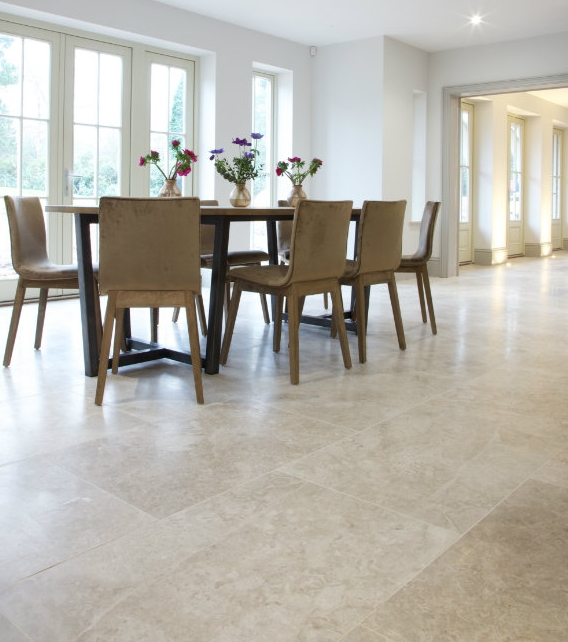 Piccadilly Honed Limestone in an open plan dining room