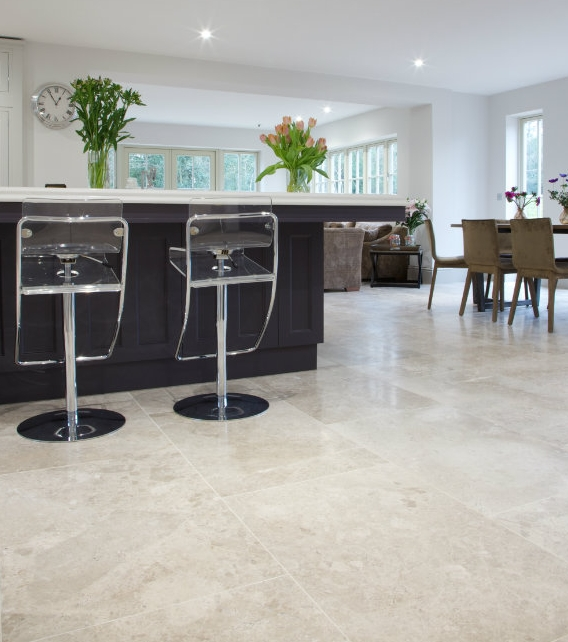 Piccadilly Honed Limestone with a modern serving bar