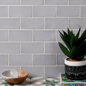 Seaton Ceramic Ocean Mist Wall Tiles In The Kitchen