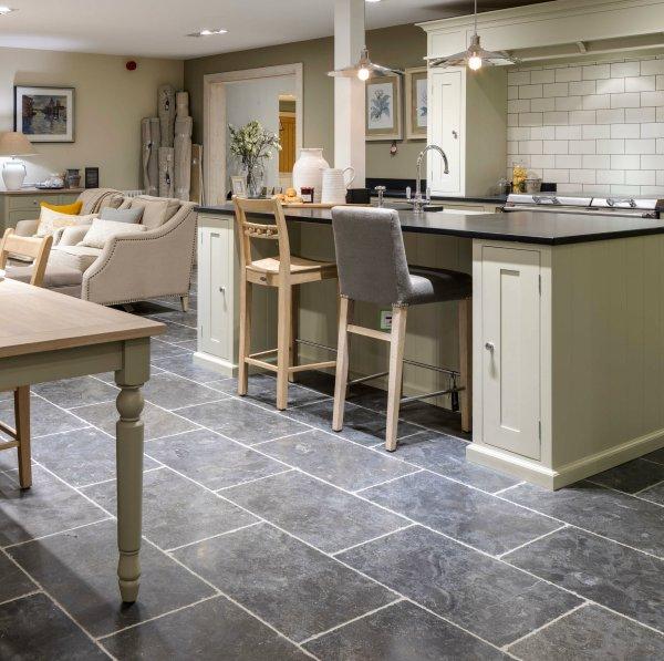 Tamworth Limestone Vintaged Finish in a kitchen surrounding