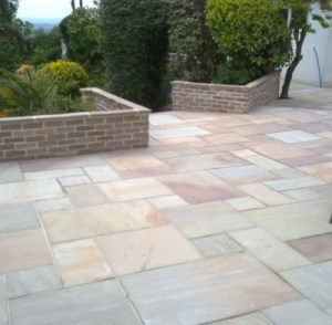 Rippon Indian natural riven sandstone patio slabs