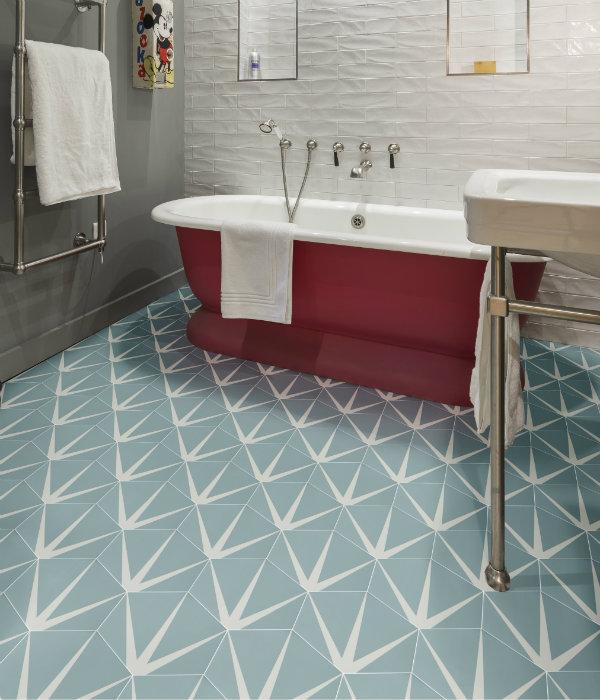Lily Pad Porcelain Bathroom Floor tile in Pistachio