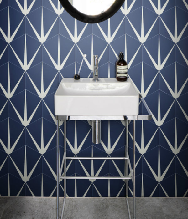 Lily Pad Porcelain Bathroom wall tile in Admiral Blue