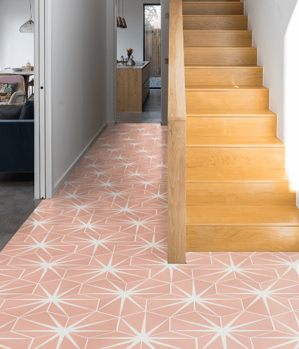 Lily Pad Porcelain flooring tiles in Bubblegum pink