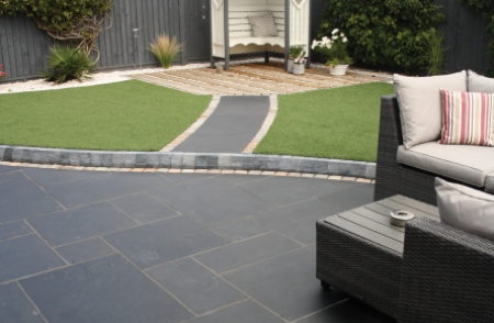 Natural Kota Black Indian Limestone patio pavers