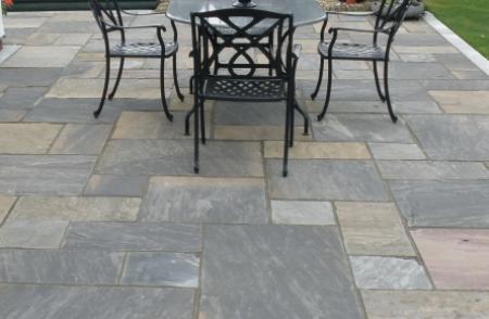 black natural Indian sandstone patio pavers