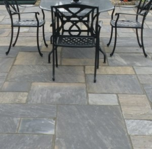 black natural Indian sandstone patio pavers