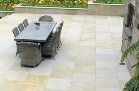 Ivory coloured natural stone patio slabs