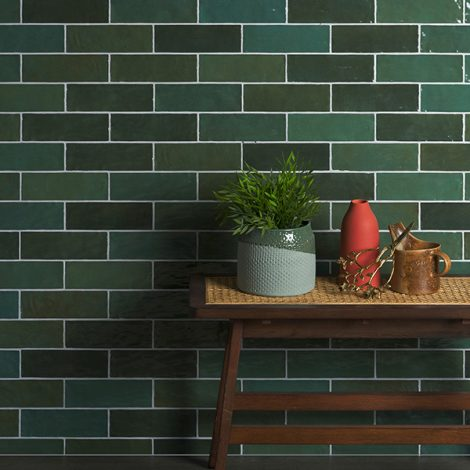 Bottle Green handmade ceramic gloss tiles