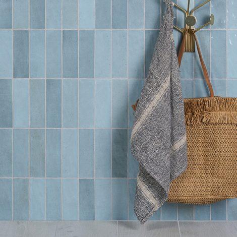 Handmade sky blue ceramic gloss tiles