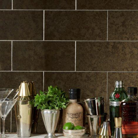 smokey brown mirrored glass effect kitchen wall tiles
