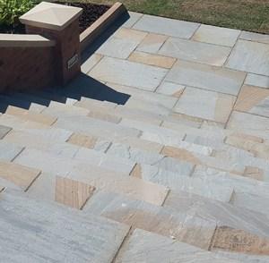 natural York Mix indian sandstone patio pavers
