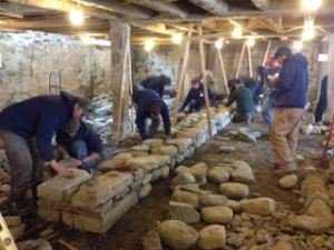Dry stone wall training for contractors working on 2nd course