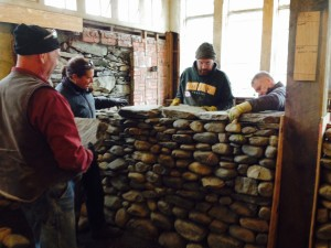 setting coverband on the dry stone wall - 1
