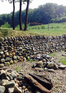 dry stone Retaining wall at The Stone Trust Center where workshops take place