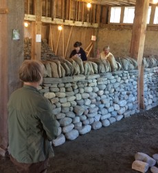 Women's workshop admiring completed dry stone wall