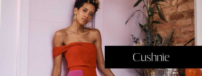 Image of Carly Cushnie modeling her namesake women's fashion brand Cushnie