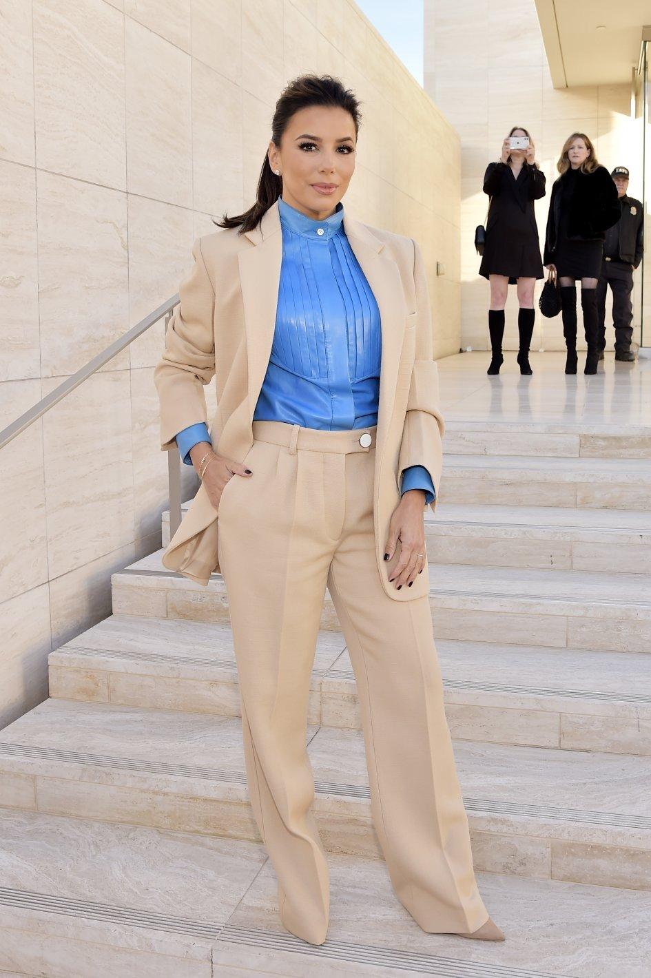 Eva Longoria Spring 2020 Victoria Beckham Oversized Wool Blazer Cropped Wool Trouser Blue Leather Shirt