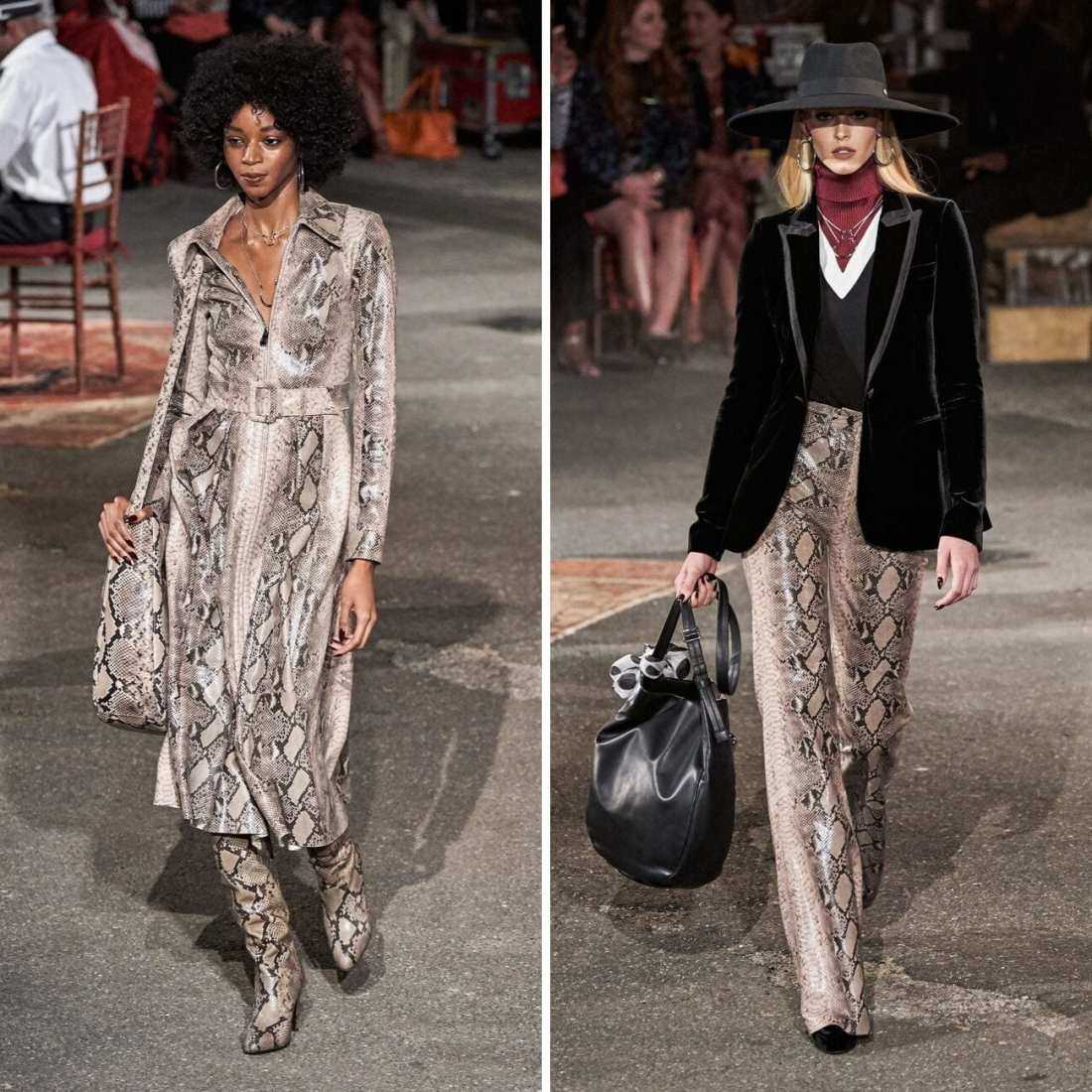 TommyxZendaya Fall 2019 with two models walking down runway. wearing snake skin and menswear for women fashion trend