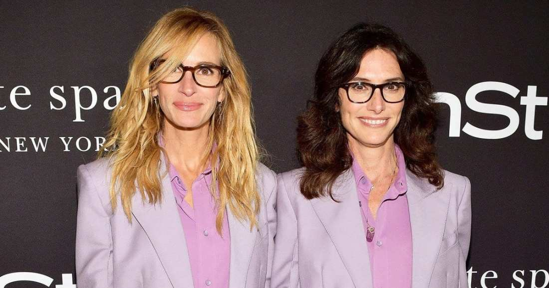 Celebrity Stylist Elizabeth Stewart with celebrity client actress Julia Roberts wearing matching lavender suits.
