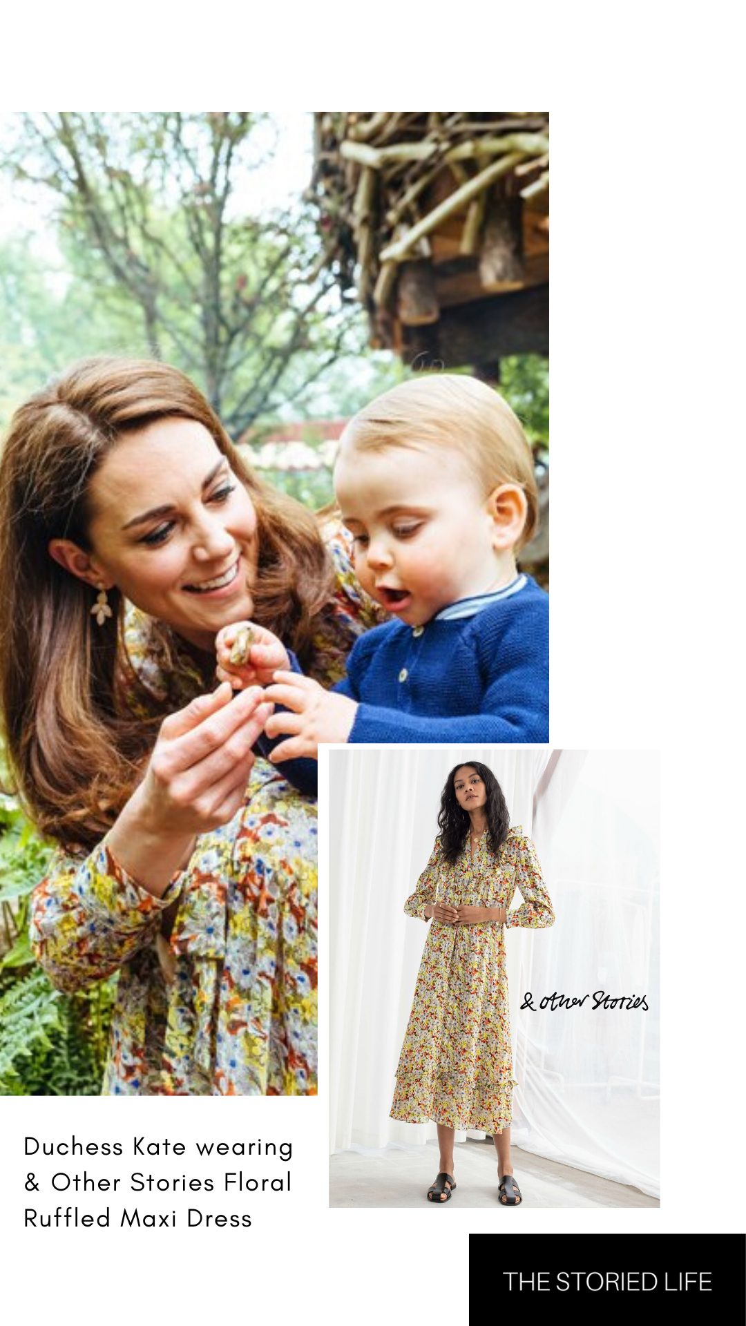 Click to shop Duchess Kate Middleton & Other Stories Floral Ruffle Midi Dress
