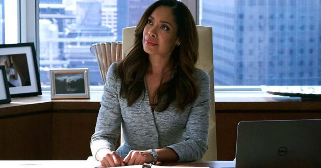 Image of character Jessica Pearson played by actress Gina Torres dressed by USA Network's Suits Costume Designer Jolie Andreatta