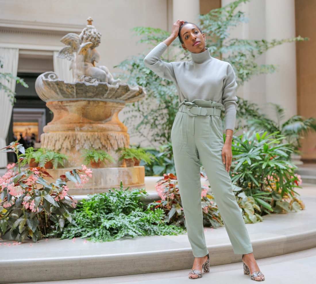 Lana Jackson modeling & Other Stories pistachio trend sweater and pants outfit