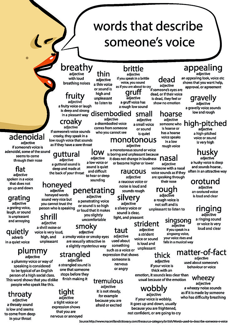 Words That Describe Someone's Voice…infographic…  Chris
