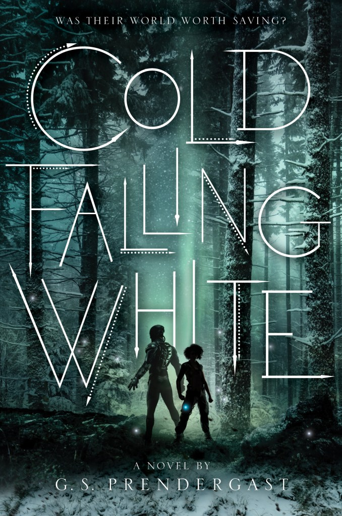 Cold Falling White cover shows a snow-covered forest with a Nahx silhouette standing back to back with a human silhouette.
