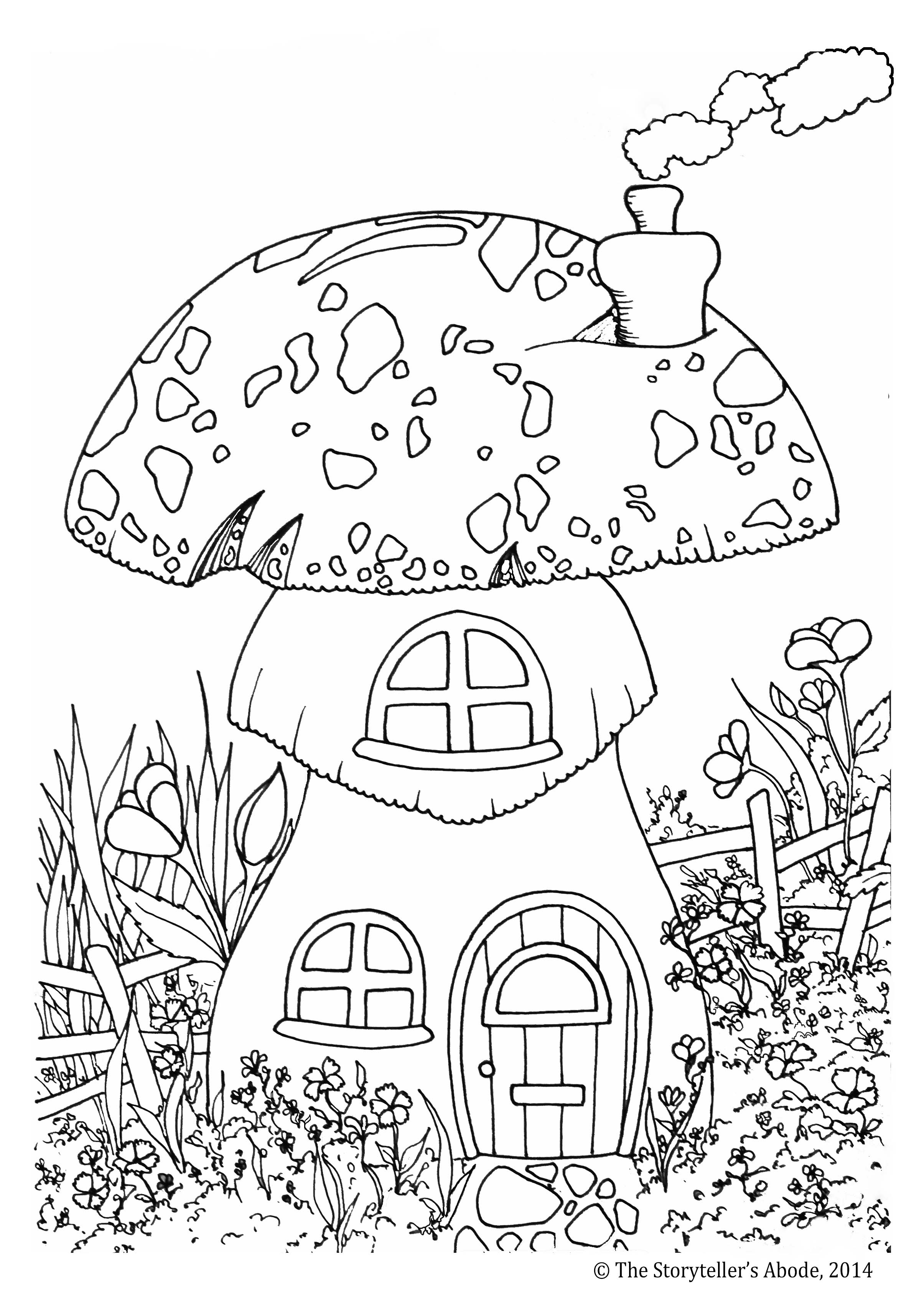 Toadstool House Colouring Picture
