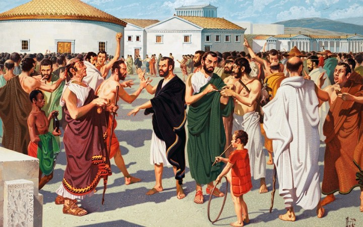 Athenian citizens debating in the 500s BCE