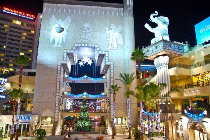 Assyrian bas-reliefs on the towers of the Hollywood and Highland