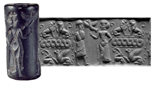 Sumerian cylinder seal, before 1900 BCE