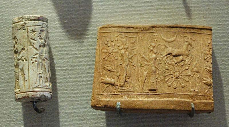 Sumerian clyinder seal, before 1900 BCE