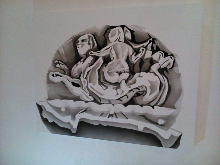 """Woman Riding Sea Serpent II."" Acrylic on canvas. 92 x 117 cm"