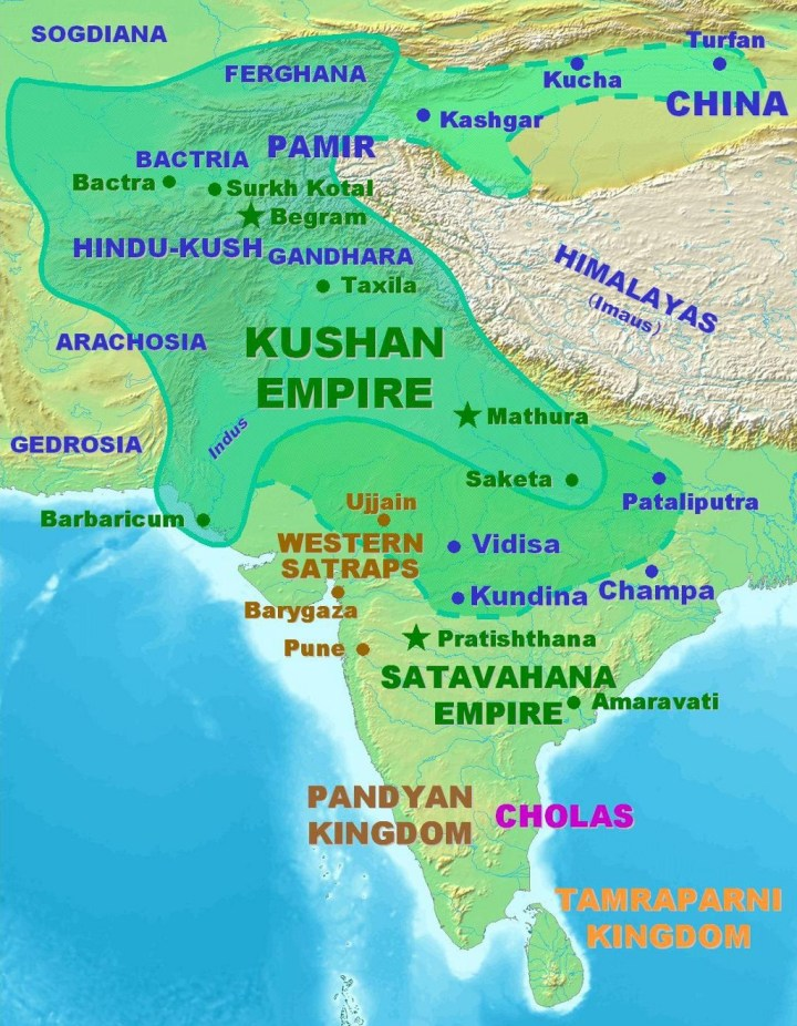 The Kushan Empire at its peak, circa 150 CE