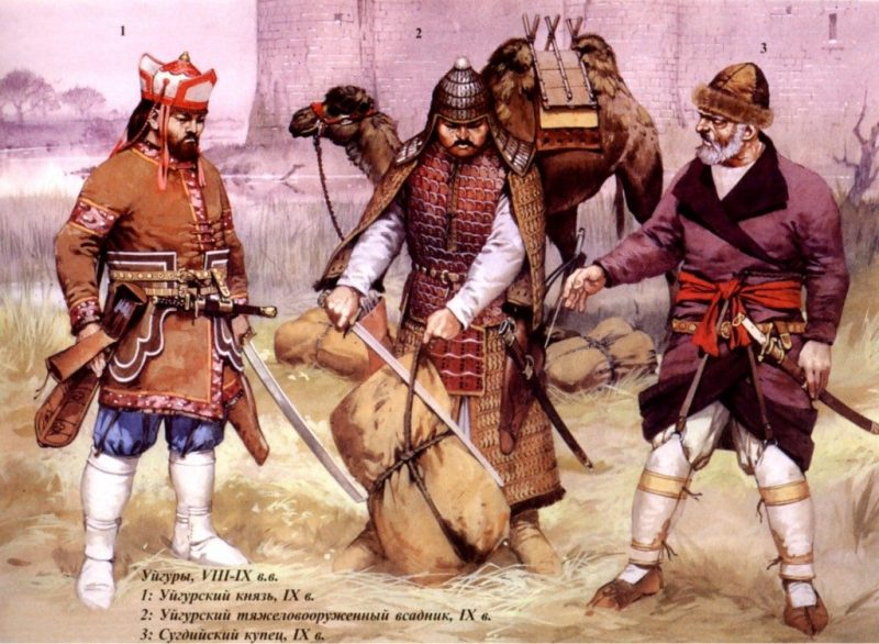 A Uigur prince, a Uigur heavy cavalryman, and a Sogdian merchant — all from cultures closely related to the Yuezhi.