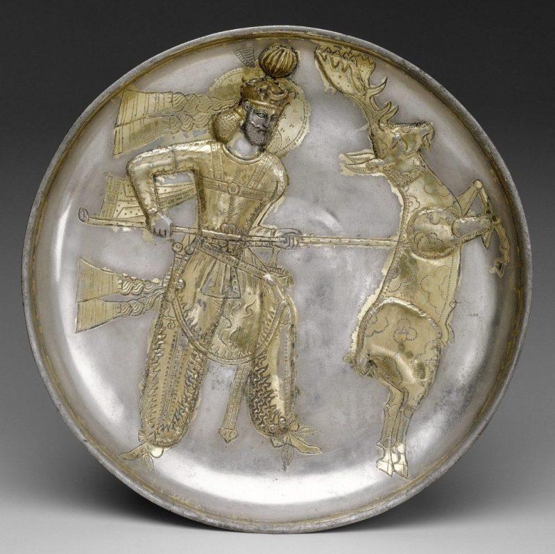 The Sasanian king Yazdgard I, slaying a stag