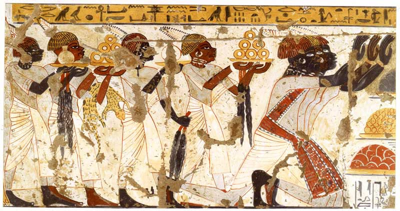Nubian worshippers, as depicted in an Egyptian Middle Kingdom painting from the city of Luxor
