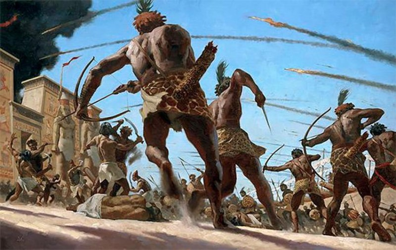 Kushites battling Egyptians