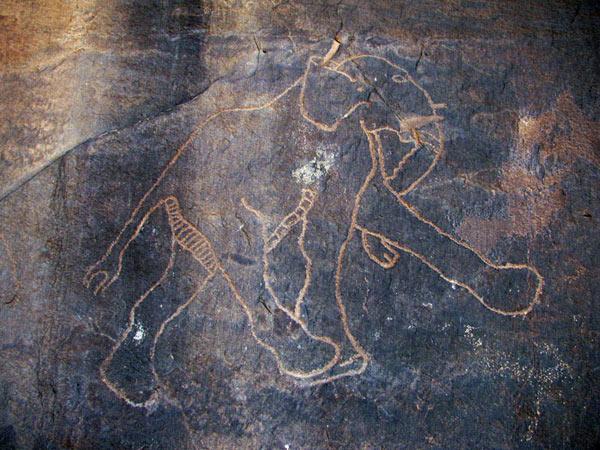 A Berber carving in Wadi Tashwinat, Libya, possibly as old as 9,000 BCE