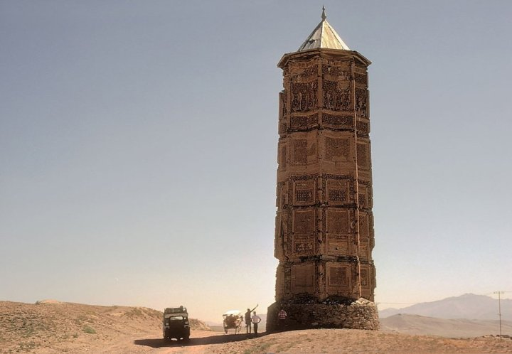 A lone minaret stands in what was once the city of Ghazni, Afghanistan.
