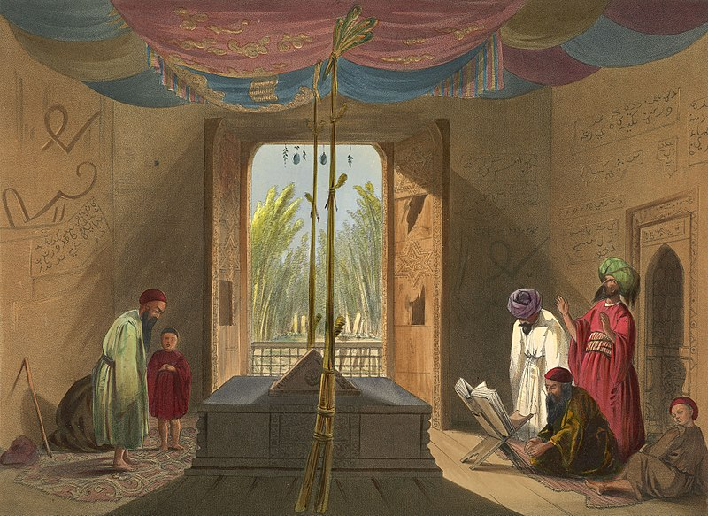 A Persian man and his child (looking, perhaps, a bit like Rumi and his father) visit the tomb of Shah Mahmud in Ghazni.