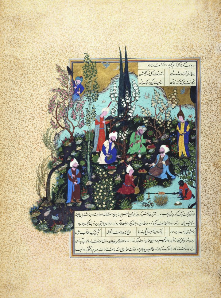 """The Poet Ferdowsi at the Court of Ghazna,"" by the painter Agha Mirek (1532)."