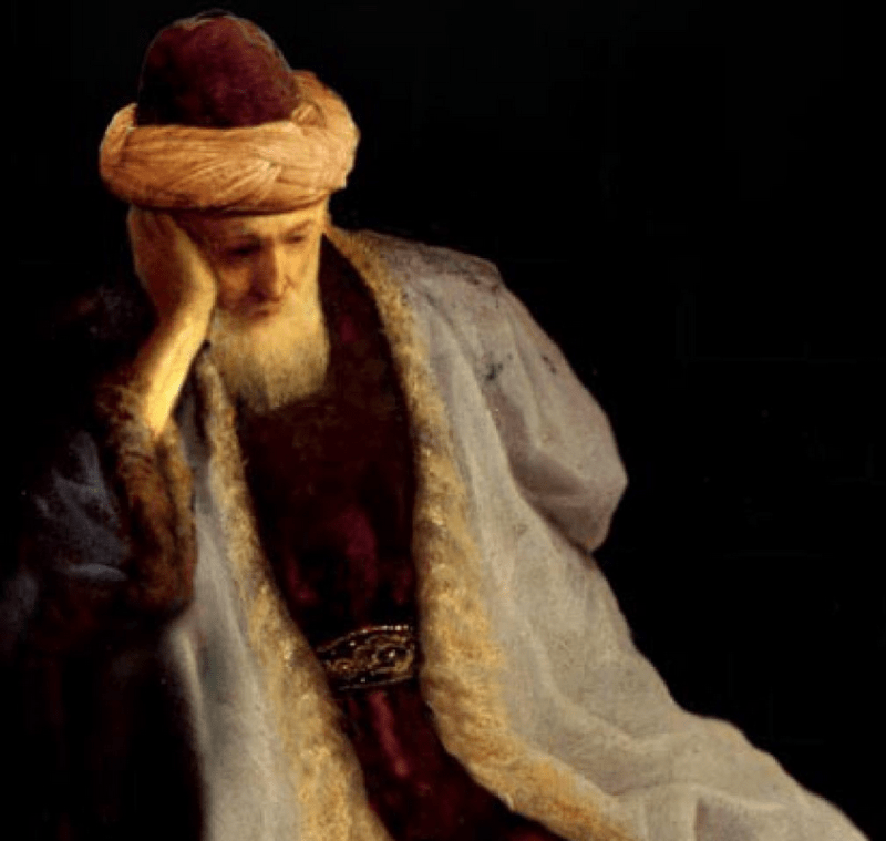 Rumi in contemplation, as depicted in a modern painting.