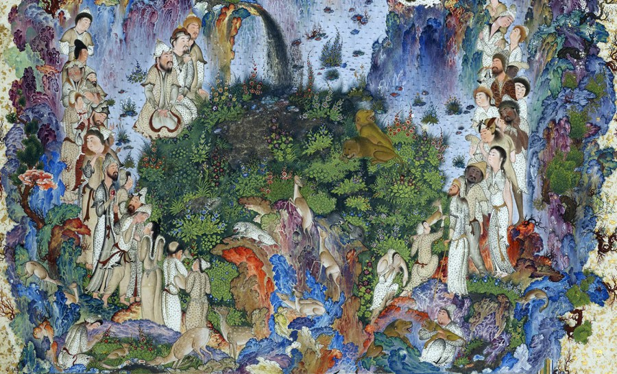 A 16th-century Persian painting depicting the many peoples of the court.