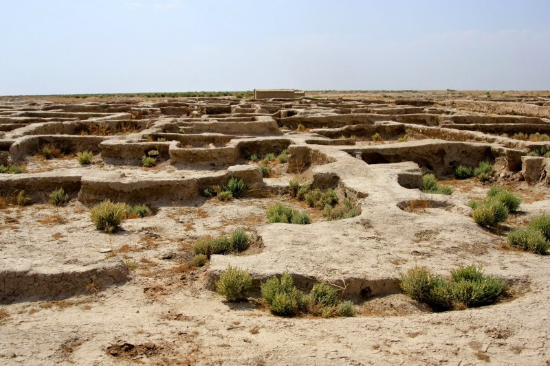 The ruins of an ancient city, at a site now known as Gonur, Turkmenistan