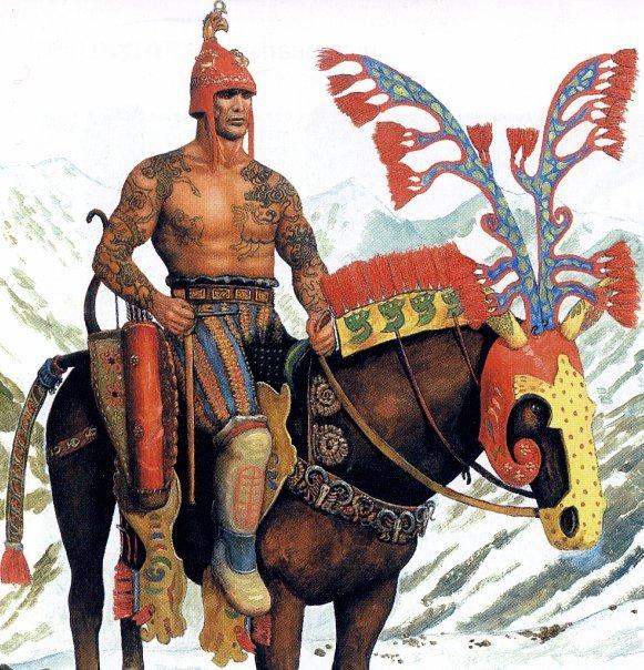 A Scythian horseman, looking very similar to an Andronovo warrior