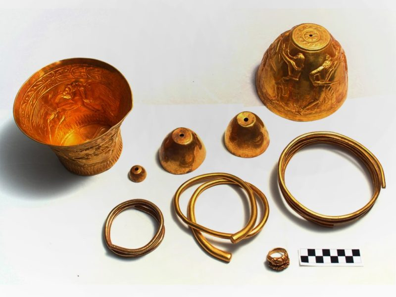 A gold bong found in a Scythian burial mound in southern Russia.