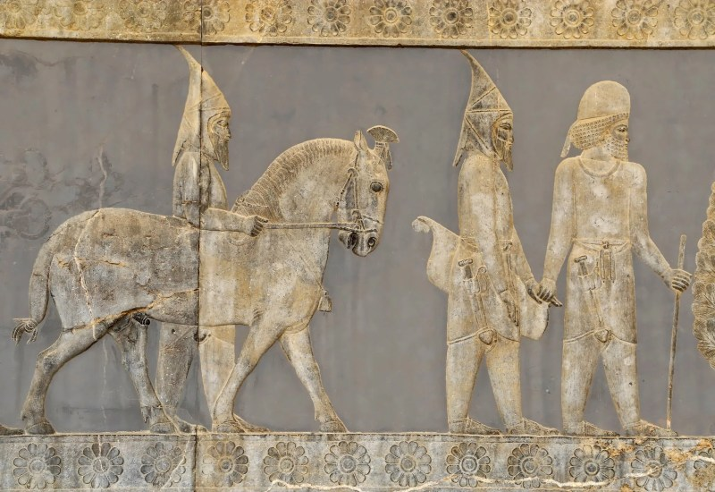 """Scythians: """"Pointed-Hat Scythians,"""" from a staircase bas-relief at Persepolis."""